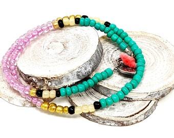 Turquoise Beaded Bracelet, Summer Choker, Friendship Bracelet, Dainty Boho Choker, Beaded Wrap Bracelet, Gift for Her, Bohemian Jewelry