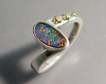 Australian Boulder Opal Ring Serling Silver 10k Gold