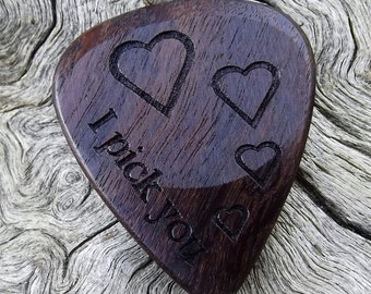 Wood Guitar Pick - Premium Quality - Handmade With African Leadwood - Laser Engraved Both Sides - Actual Pick Shown - Artisan Guitar Pick