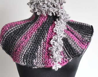 SALE - Gray Magenta Black Color Stripes Knitted Capelet Collar Cowl Scarf Wrap with Two Black Buttons