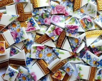 100 Limoges Pink Blue Gold Vintage China Mosaic Tiles//Broken Dish//Mosaic Supplies//Pieces//Discount Mosaic Tiles
