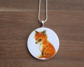 Baby Fox Necklace, Fox Pendant, Vintage Fox, Handcrafted Jewelry, Gift for Animal Lovers, Free Shipping in US