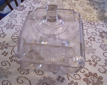 Large Antique Etched Candy Dish w/Lid, Art Deco Period, 1910-20s, EAPG Glass, Fancy Curved Feet