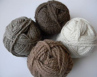 Alpaca and Merino Bulky Yarn - 100 Yards - Available in Natural White, Fawn, Brown and Grey - Gray