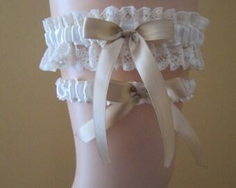 Champagne Wedding Garter Set, Ivory Lace Bridal Garter, Cream- Ivory Garters, Prom 2017 Garters, Country- Vintage- Rustic Bride