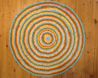 "36"" Diameter Crocheted Rag Rug,  Crocheted Rag Rug,  Handmade Rug, Kitchen Rug, Home and Living Decor, Turquoise and orange rug"