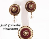 Vintage Sarah Coventry Brooch And Earrings Set, Westminster Enamel & Faux Pearl