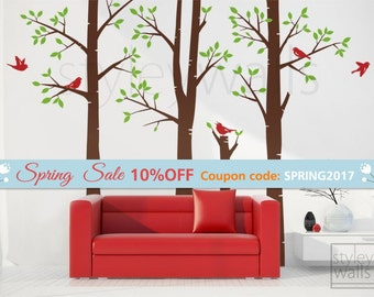 Birch Trees Wall Decal, Forest Trees Wall Decal, Winter Trees and Birds Wall Decal, Living Room Wall Decal, Trees Wall Decal for Home Decor