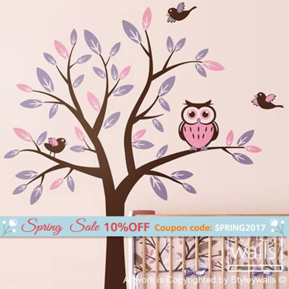 Owl Tree Decal Wall Decal for Nursery Decor, Tree with Owl and Birds Wall Decal Kids Nursery Baby Room Decal, Owls Tree Sticker Room Decor