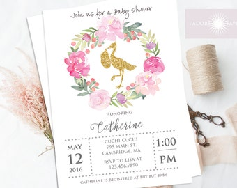 Baby Shower Printable, Glitter Storck Baby Shower Invite, Pink and Gold Baby Shower, Floral Wreath Invite, Pink, Watercolor, jadorepaperie