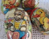 Vintage Paper Mache Easter Eggs Lot of 4 Variety of Images West Germany Colorful Candy Containers