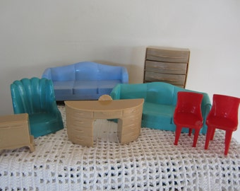 Vintage Doll House Furniture by Plasco 8 Pieces Colorful Doll Furniture