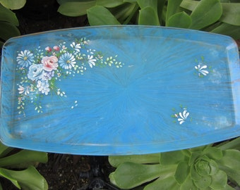 Vintage Mitchell Gould Floral Tray Hand Painted Flowers Bits O' Glamour Collection