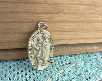 Gold Plated Vintage Religious Finding. St. Christopher Protect Us Medallion Charm. Karatclad Simmons Hallmarked D16