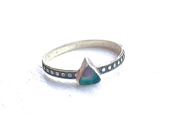 Watermelon Tourmaline Triangle Ring in Oxidized Sterling Silver
