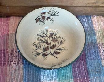 Large handmade ceramic bowl - 32 oz bowl - Handmade pottery serving bowl - Large Rustic Pottery Bowl - Pinecone design - 1714