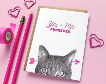 gee whiskers series: you + me furrever letterpress greeting card