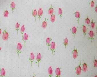 Vintage Pink Rosebud Floral Cotton Print Fabric 4.5 yards