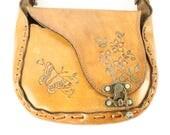 Vintage 70s Leather Tooled Purse Brown Shoulder Bag Butterflies Flowers 1970s Hippie Boho Festival Fashion La Rue Handbag