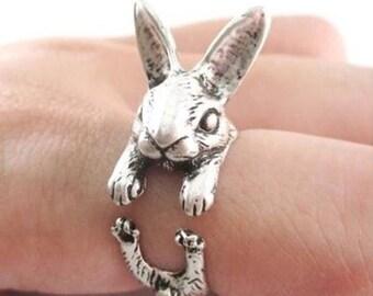 Alice In Wonderland Inspired Style Rabbit silver Adjustable Ring birthday Gift for Her Girlfriend Kitsch mad hatter friend emo gothic disney