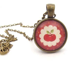 Red Cherry Necklace, Retro Style Cherry Pendant, Vintage Look Art Pendant,  Bronze Pendant with Chain, Gift for Her