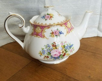 Vintage Royal Albert Lady Carlyle Bone China Shabby Floral Teapot