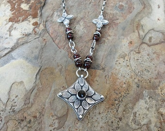 Garnet and Fine Silver Necklace with Garnet Beads and Thai Silver Beads. Handmade Jewelry for Charity. NS8
