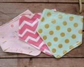 Baby Girl Bib Set - 3 Bandana Bib Gift  Set - Baby Girl Gift - Bandana Baby Bib - Maine Gift - Baby Shower gift - Mint and Gold dot Bib