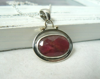 Sterling silver, 14k yellow gold and Rose Cut Sapphire Pendant with chain - jewelry necklace