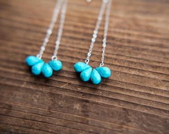 Turquoise Teardrop Earrings // Sterling Silver // Turquoise and Silver // Faceted Gemstone // Healing Stone // Turquoise Jewelry // Handmade