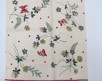 Vintage Linen Towel Flowers And Butterflies Unused