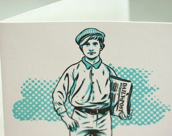 SALE - Letterpress Victorian Rascal Newsboy Art Print Greeting Card - 60% off