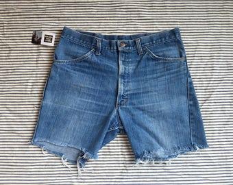 "34"" Waist / Denim Cut Offs / 1970's Denim Shorts / High Waisted Denim Hot Pants / Festival Hipster / Jean Shorts / Coachella / Large Size"