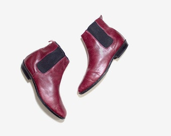 Vintage Chelsea Boots 7 / Italian Leather Ankle Boots / Oxblood Leather Boots / Ankle Boots Women