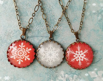 Limited edition, snowflake necklace, red glass pendant, grey jewelry, xmas gift, bronze chain, 1 inch charm