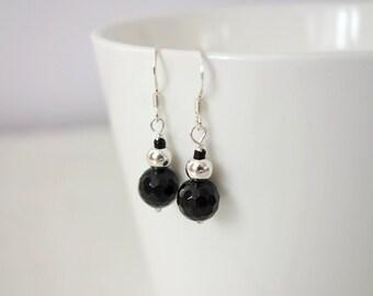 Small silver earrings black onyx earrings small stone earrings black stone minimalist earrings