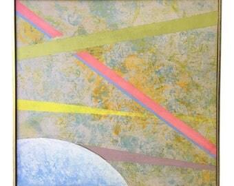 Vintage Abstract Painting Geometric Mid-Century
