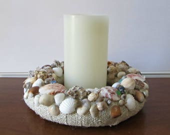 Seashell Candle Ring/Wreath - Burlap, Shell and Seaglass Decor