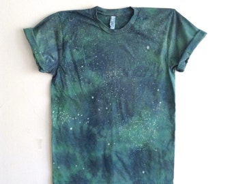 Emerald and Teal Hand Dyed Mineral Tee - Medium