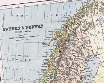 1895 Antique Map of SWEDEN and NORWAY, Beautifully Illustrated, Perfect for Framing, Colorful, Europe, Scandinavia, Oslo, Stockholm