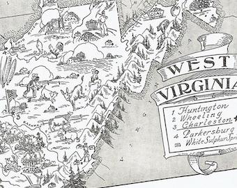 WEST VIRGINIA Vintage Map, Adorable, Beautifully Illustrated, Perfect for Framing, Atlas, Charleston, Huntington, Blue Ridge Mountains