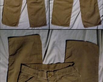 Vintage Womens 70s LEE brand Light Brown 27 X 29 Festival Corduroy Straight leg Pants with Talon 42 zip