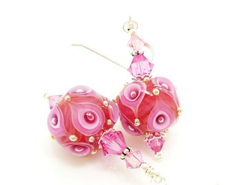 Pink Earrings, Lampwork Earrings, Glass Earrings, Glass Bead Earrings, Beadwork Earrings, Unique Earrings, Glass Art Earrings