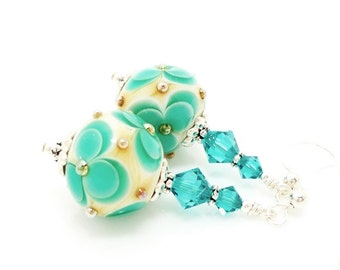 Teal Flower Earrings, Lampwork Earrings, Glass Bead Earrings, Glass Art Earrings, Floral Earrings, Unique Earrings, Floral Earrings