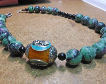 Ruby and Ziosite,Onyx Indo Asia Influence Necklace