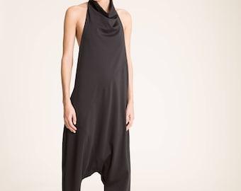 NEW Harem Jumpsuit /Women's Harem Pants / Cool Jumpsuit / Black Romper /Extravagant Jumpsuit / Halter Romper/ marcellamoda - MP848