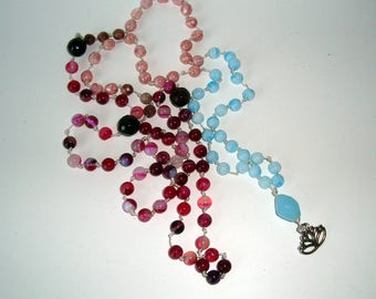 Light turquoise Guru Bead and Lotus Flower with Gemstone MALA Bead Necklace, 108 Beads, YogaGift, Meditation Beads
