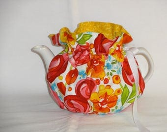 2 Cup Pretty Red & Gold Floral Reversbile Teapot Cozy