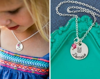FREE SHIP • Owl Necklace Owl Jewelry • Little Owl Gift Small Owl Charm Little Girl Birthday Party Favor • Bird Necklace Toddler Necklace