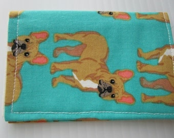 Dog Credit Card Wallet - Pug Dogs Fabric Wallet, Loyalty Card Holder, Business Card Wallet, Gift Card Holder, Small Wallet